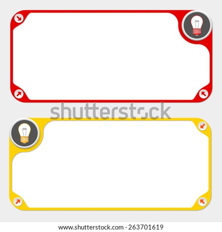 Two vector frames and arrows and bulb - stock vector