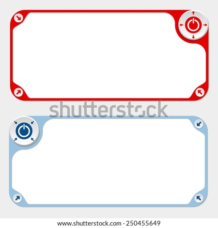 Two vector frames and arrows and power button - stock vector