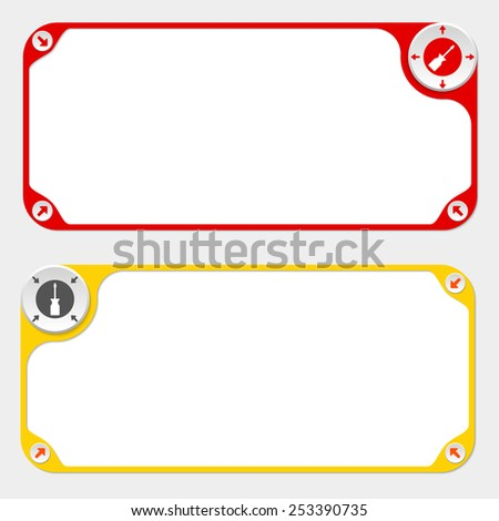 Two vector frames and arrows and screwdriver - stock vector