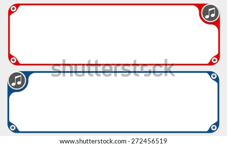 Two vector frames for your text and music icon - stock vector