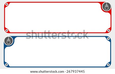Two vector frames for your text and simple mouse icon - stock vector