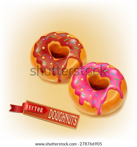 two vector fried sweet donut glaze and chocolate - stock vector