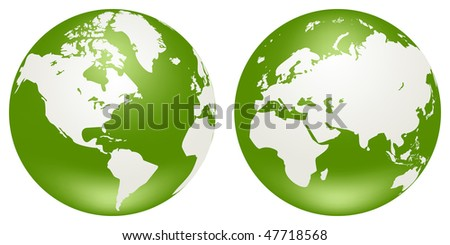 Two vector globes of Earth, isolated on a white