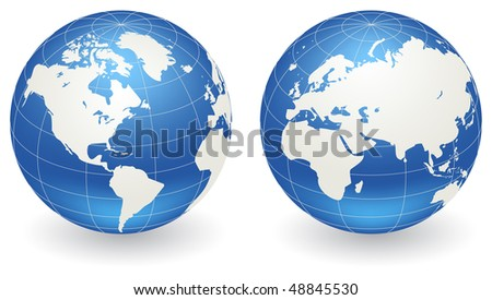Two vector globes of Earth, isolated on a white - stock vector