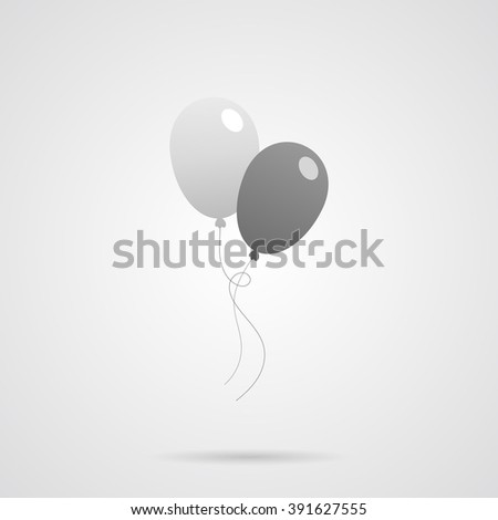 Two Vector Gray Balloons Flat Icon over light gray background. Simple element for your designs, web, projects, logo, and other. - stock vector