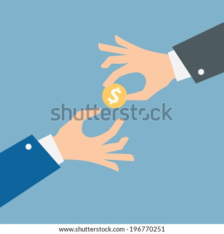 Two vector hands, giving money. - stock vector