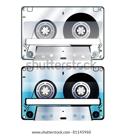 Two vector illustration of old cassette