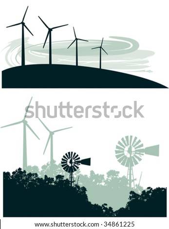 Two vector illustrations: Modern Wind Turbines and Wind Turbines juxtaposed with old fashioned windmills - stock vector