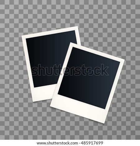 Two Vector instant photo frame. Set of realistic paper photograph with shadow isolated on transparent background. Photo frame mock up. Vector illustration. EPS 10