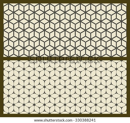 Two vector isometric patterns set. Vector seamless patterns. Repeating geometric tiles and squares. Minimalistic rhombus texture. Regular simple print on beige background. Modern graphic design.