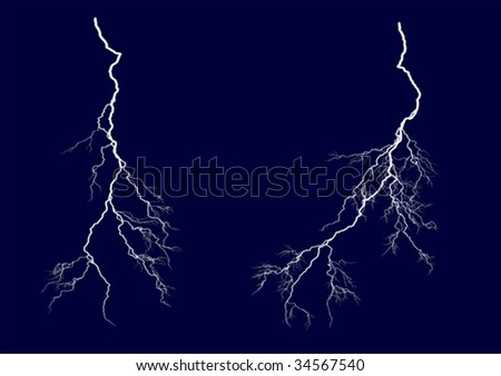 Two vector lightning bolts. - stock vector