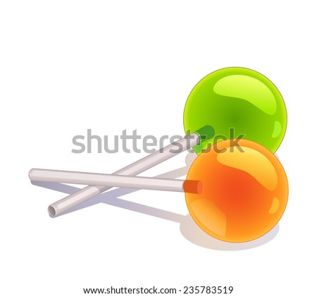 Two vector lollipops isolated on white - stock vector