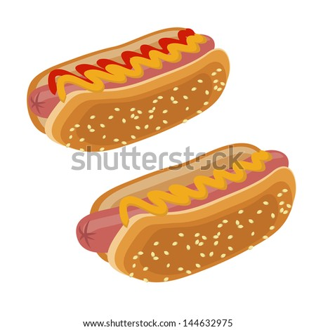 two vector of a hot dog with ketchup and mustard