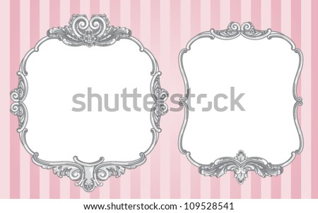 Two vector ornate vintage frames on a striped pink background - stock vector