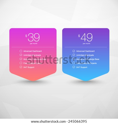 Two Vector Pricing Tables for Web, Presentations and Infographics templates. Vivid illustration on Geometric modern background - stock vector
