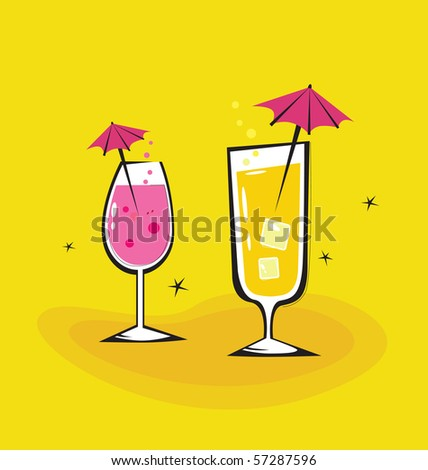 Two vector retro drinks isolated on orange background. Take hot summer mixed drinks! Vector illustration. - stock vector