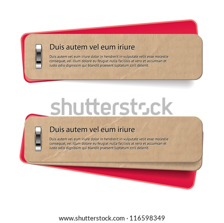 Two vector stapled old paper tags / labels / banners / stickers with red covers - stock vector