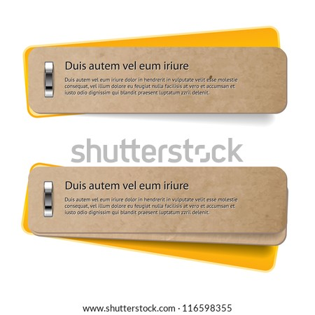 Two vector stapled old paper tags / labels / banners / stickers with yellow covers - stock vector