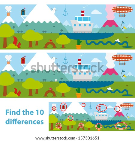 Two versions of a vector illustration of a lake with a boat, snow-capped mountains , an erupting volcano and a blimp in a kids puzzle to spot the 10 differences between the two, with a solution below - stock vector