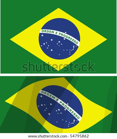 two versions of the flag of brazil - stock vector