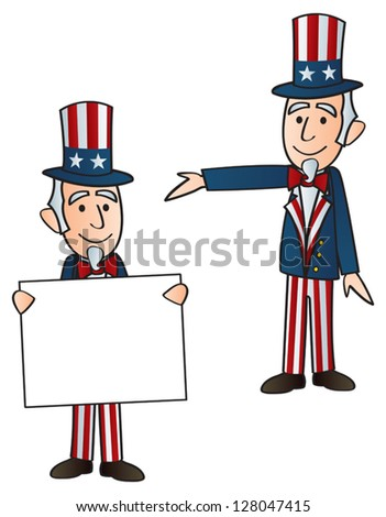 Two versions of Uncle Sam. One with a sigh and one with his arm out presenting. - stock vector