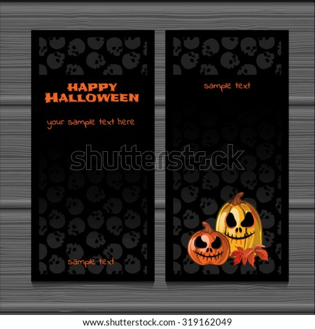 Two vertical cards with space for text and the texture of the old wood. Ripe autumn pumpkins on the background texture of skulls for a poster, invitation or other postcard. Halloween. Vector. - stock vector