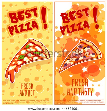 Two vertical orientation flyers for pizzeria. Fresh and tasty pizza. Vector template flyer isolated on a white background. - stock vector