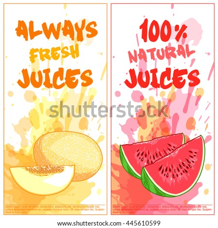 Two vertical orientation flyers with fruits. Always fresh and 100% natural juices. Vector template flayer isolated on a white background.