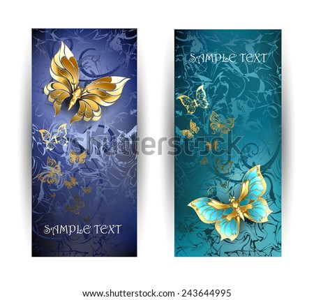 two vertical rectangular banner with gold butterflies on a blue background.  - stock vector