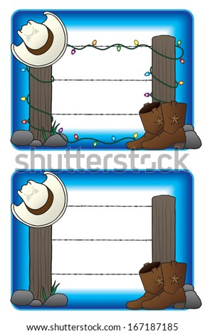 Two views of a country fence with a cowboy hat and boots. One with Christmas lights and one without. - stock vector