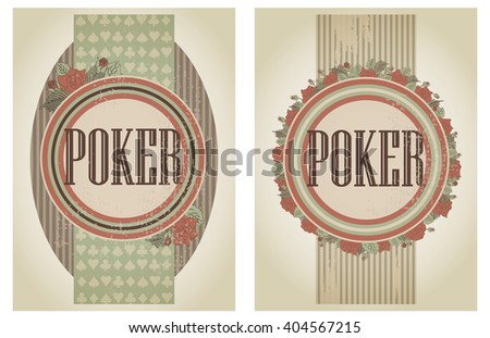 Two vintage casino poker banners, vector illustration
