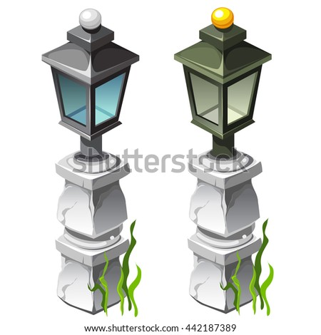 Two vintage lantern city flooded with sea water, isolated on a white background. Vector illustration.