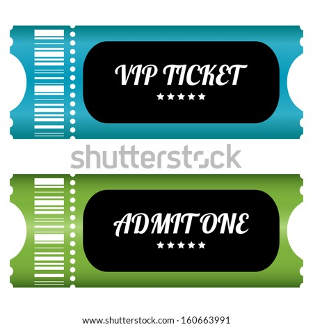 two VIP tickets with special design - stock vector