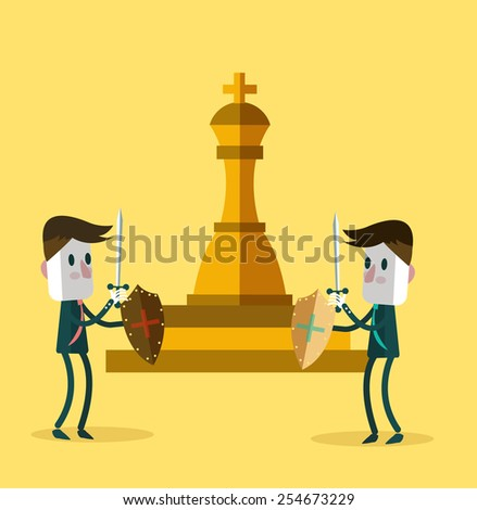 Two warrior businessman fighting for a golden chess. business competition. vector illustration - stock vector