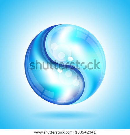 Two water drops forming the shape of a Yin Yang. EPS10 vector format. - stock vector