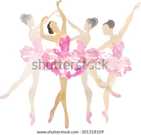 Two watercolor ballerina dancing  pink - stock vector