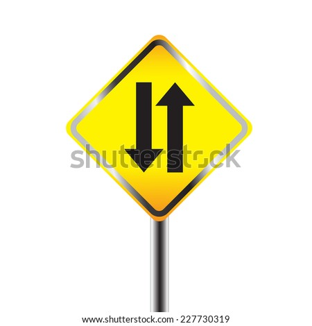 Two way traffic sign. vector illustration