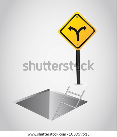 two ways with yellow sign over floor. vector illustration - stock vector