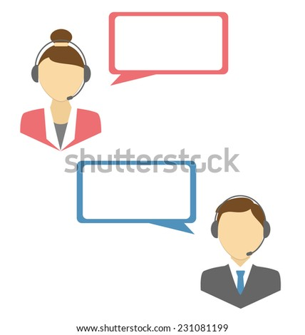 Two web consultants with headphones and blank spaces for text isolated on white background - stock vector