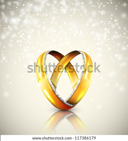 Two wedding rings in shape of heart. Eps 10 - stock vector