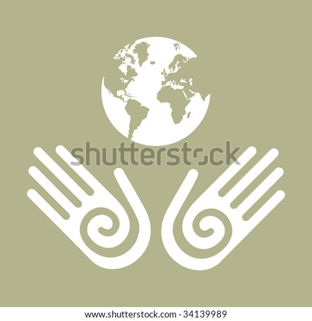 Two white hands with the globe behind. - stock vector