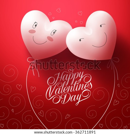 Two White Hearts Inlove with Happy Face for Valentines day Greetings Card with Pattern Red Background. Vector Illustration  - stock vector