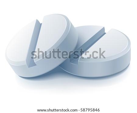 two white medical pills - stock vector