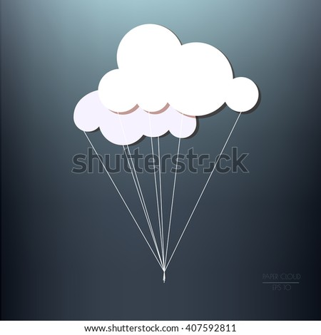Two white paper clouds with threads in a bunch, isolated on a dark blue background. Vector illustration with a copyspace. - stock vector
