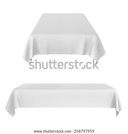 Two white rectangular with table tablecloth. Vector Illustration - stock vector