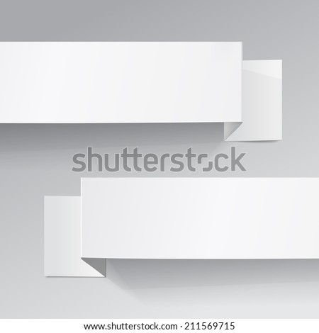 Two white sheets of paper on a grey background. Origami  - stock vector