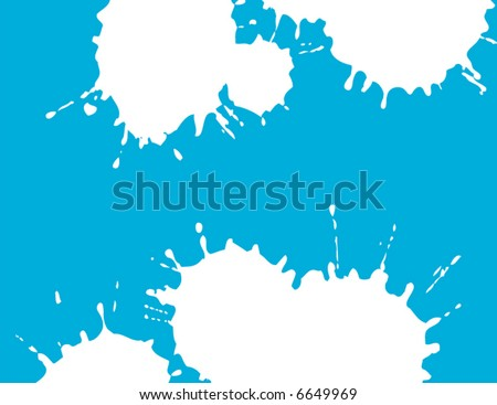 Two white splatter grunge shapes on a blue background