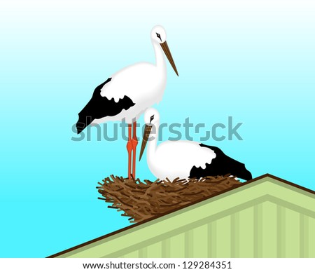 Two white storks made a nest on the roof of the house, vector illustration - stock vector