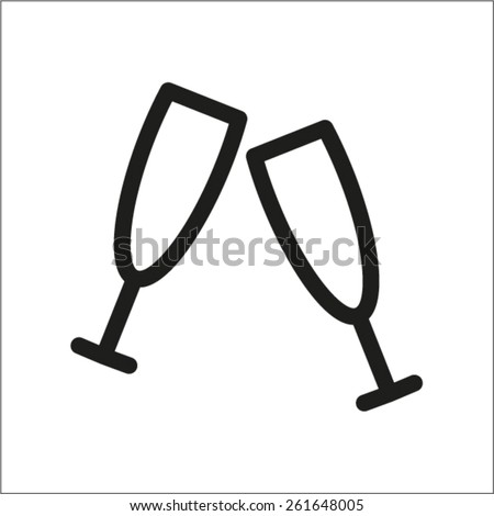 two wineglass vector icon - stock vector