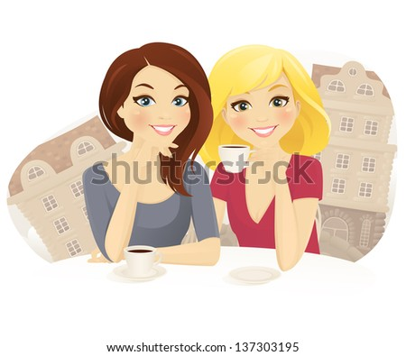 Two woman drinking coffee in street cafe - stock vector